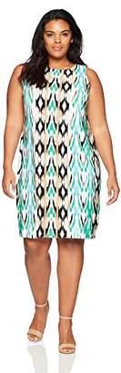 London Times Women's Plus Size Sleeveless Matte Jersey Shift Dress