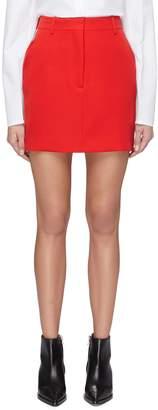 Calvin Klein 'Marching Band' stripe outseam wool twill mini skirt