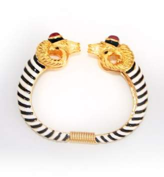 Kenneth Jay Lane Black and White Bangle with Gold Ram Head