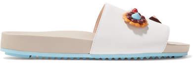 Fendi - Embellished Leather Slides - White