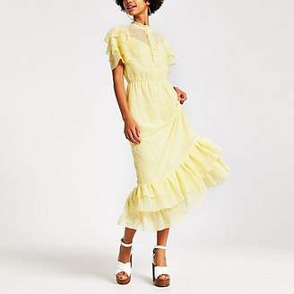 River Island Yellow high neck frill midi dress