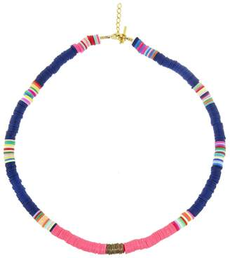 ALLTHEMUST Navy and Hot Pink Heishi Bead Necklace - Yellow Gold