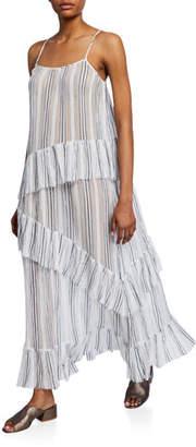 ATM Anthony Thomas Melillo Striped Spaghetti-Strap Cotton Gauze Ruffle Maxi Dress
