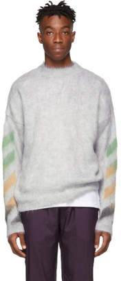 Off-White Grey Brushed Mohair Diag Sweater