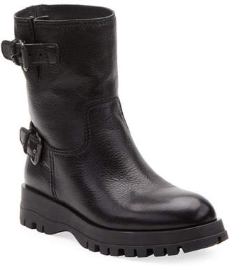 Prada Leather Double-Buckle Booties