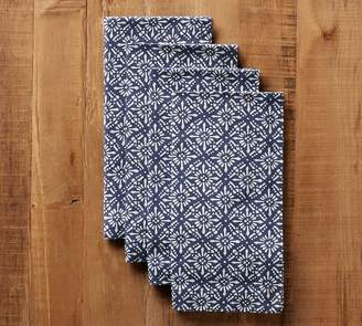 Pottery Barn Block Print Diamond Trellis Napkin, Set of 4 - Blue