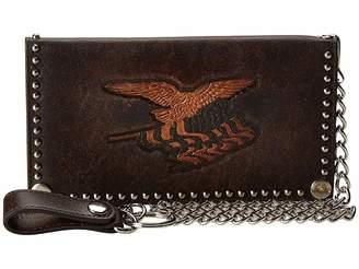 M&F Western Eagle Flag Patriotic Embossed Checkbook Wallet w/ Chain