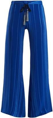 ZEUS + DIONE Alcestes geometric-jacquard silk-blend trousers