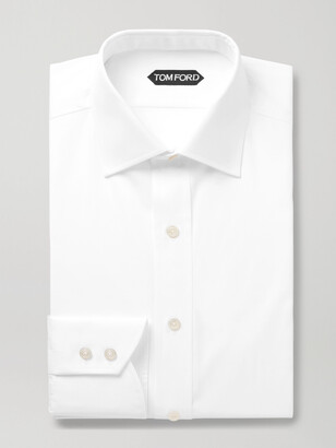 Tom Ford White Slim-Fit Cutaway-Collar Cotton-Poplin Shirt