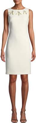 Badgley Mischka Sleeveless Dress w/ Beaded Yoke