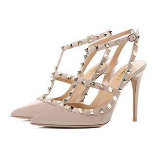 Chris-T Women Pointed Toe Stilettos Sandals Studs Strappy Slingback High Heels Leather Pumps