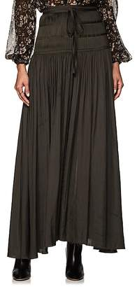Ulla Johnson Women's Peat Pleated Washed Satin Midi-Skirt