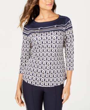 Charter Club Pima Cotton Nautical Knot Printed Top, Created for Macy's