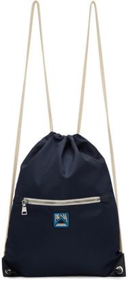 Prada Navy Logo Drawstring Backpack