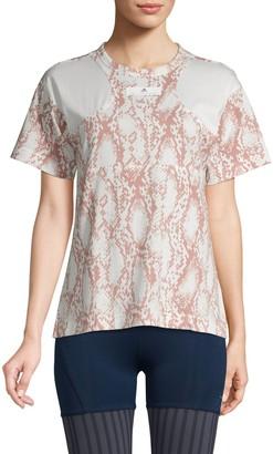 adidas by Stella McCartney Snakeskin-Print Cotton-Blend Top