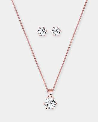 Swarovski Jewelry Set 925 Sterling Silver Classic Crystals Rosegold Plate