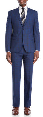 English Laundry Two-Piece Bright Blue Windowpane Wool Suit
