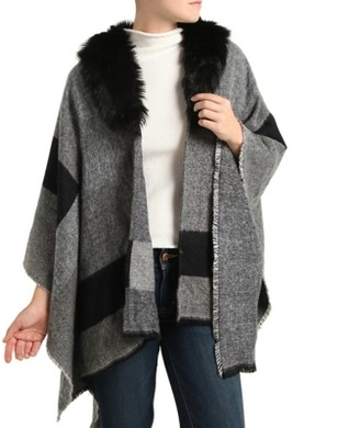 Kelly & Katie Faux Fur Colorblock Poncho