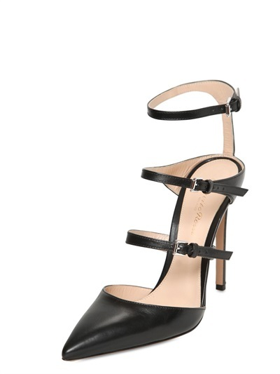 Gianvito Rossi 100mm Leather Pointy Belted Pumps