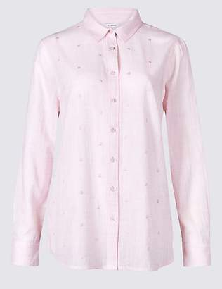 Classic Pure Cotton Embroidered Long Sleeve Shirt