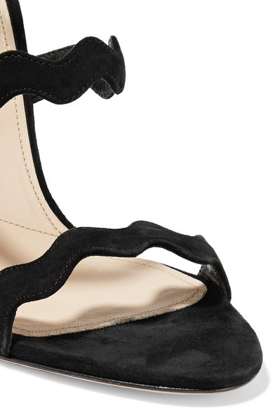 Prada - Scalloped Suede Sandals - Black 2