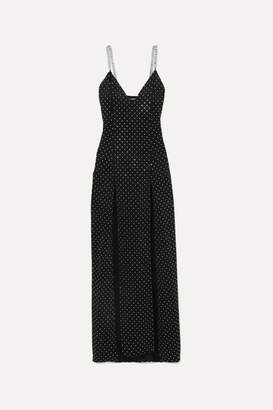 Balmain Chain And Crystal-embellished Stretch-jersey Gown - Black