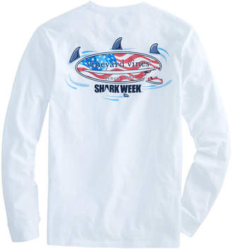 Vineyard Vines Big & Tall Long-Sleeve Shark Week Circling Flag Surfboard Pocket T-Shirt
