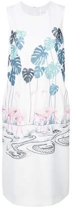 Victoria Beckham Victoria flamingo embroidered shift dress