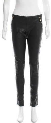 Emilio Pucci Zip-Accented Leather Pants