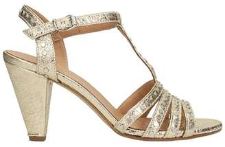 Janet & Janet Gold Leather Sandals Gold Stud Strap\'s Application