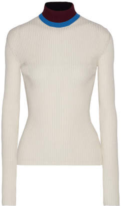 CALVIN KLEIN 205W39NYC - Appliquéd Ribbed Wool-blend Turtleneck Sweater - Off-white $725 thestylecure.com
