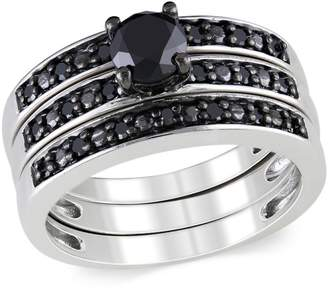 Black Diamond Concerto 1 CT. T.W. Bridal Ring Set in Sterling Silver