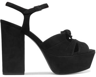 Saint Laurent - Farrah Bow-embellished Suede Platform Sandals - Black $895 thestylecure.com