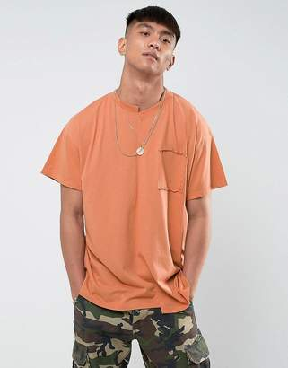 Mennace Dropped Shoulder Spliced T-Shirt In Rust