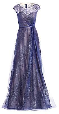 Rene Ruiz Collection Women's Glitter Tulle Embellished A-Line Gown
