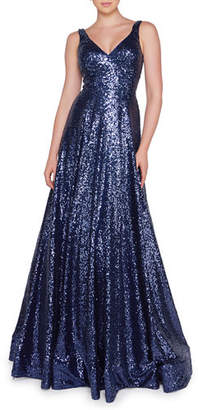 Mac Duggal Ieena for Sequined V-Neck Sleeveless Ball Gown