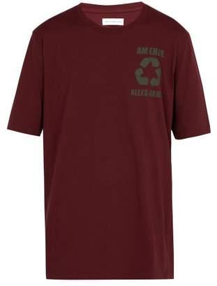Faith Connexion Recycle Print Cotton T Shirt - Mens - Burgundy