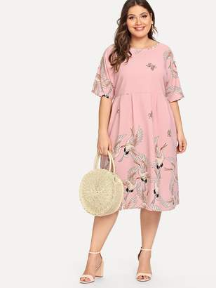 Shein Plus Crowned Crane Print Dress