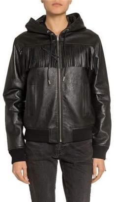 Saint Laurent Leather Fringe-Yoke Zip-Front Bomber Jacket