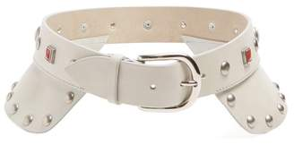 Isabel Marant Studded Leather Waist Belt - Womens - White