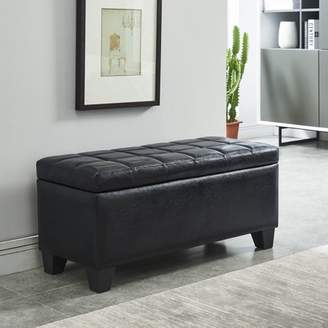 Worldwide Homefurnishings Faux Leather Storage Ottoman