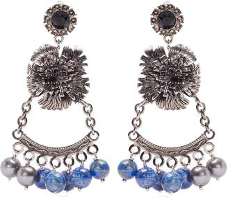 Erdem Bead-embellished flower-drop clip-on earrings