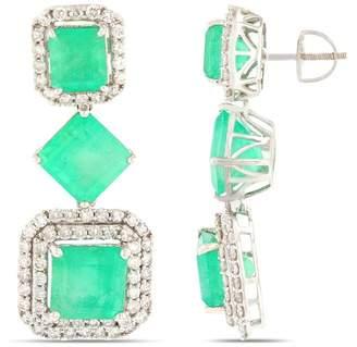 ai 14K White Gold Emerald and Diamond Earrings