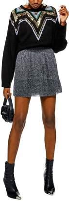 Topshop Metallic Plisse Miniskirt