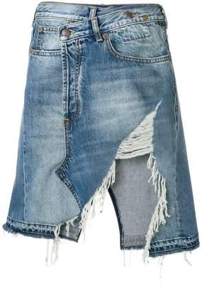 R 13 ripped denim skirt