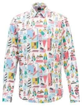 BOSS Hugo Limited-edition regular-fit shirt in satin Jeremyville print XL Patterned