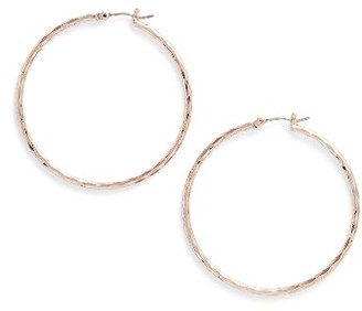 Women's Nordstrom Large Diamond Cut Hoop Earrings $28 thestylecure.com