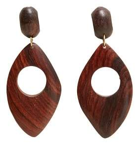 MANGO Wood earrings