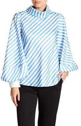 Gracia Striped High Neck Accent Cuff Top