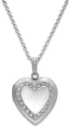 Macy's Crystal Heart Locket Necklace in Sterling Silver
